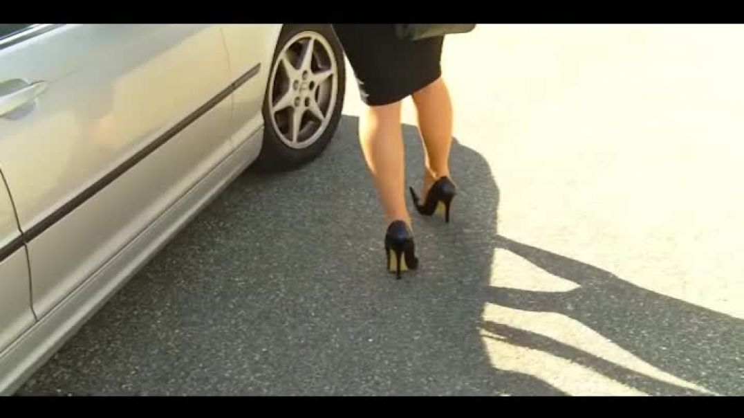 Black Extreme Pumps (15cm) (1) and Hobble Skirt