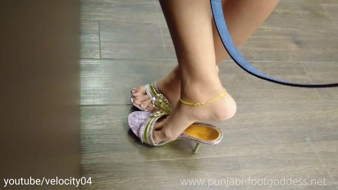 Punjabi Goddess - Candid Standing Shoeplay in sexy mules