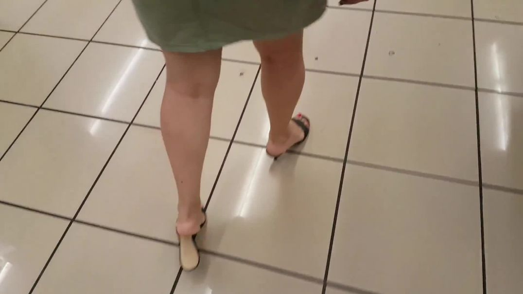 Walking In The Supermarket In Sexy Kitten Heeled Slides