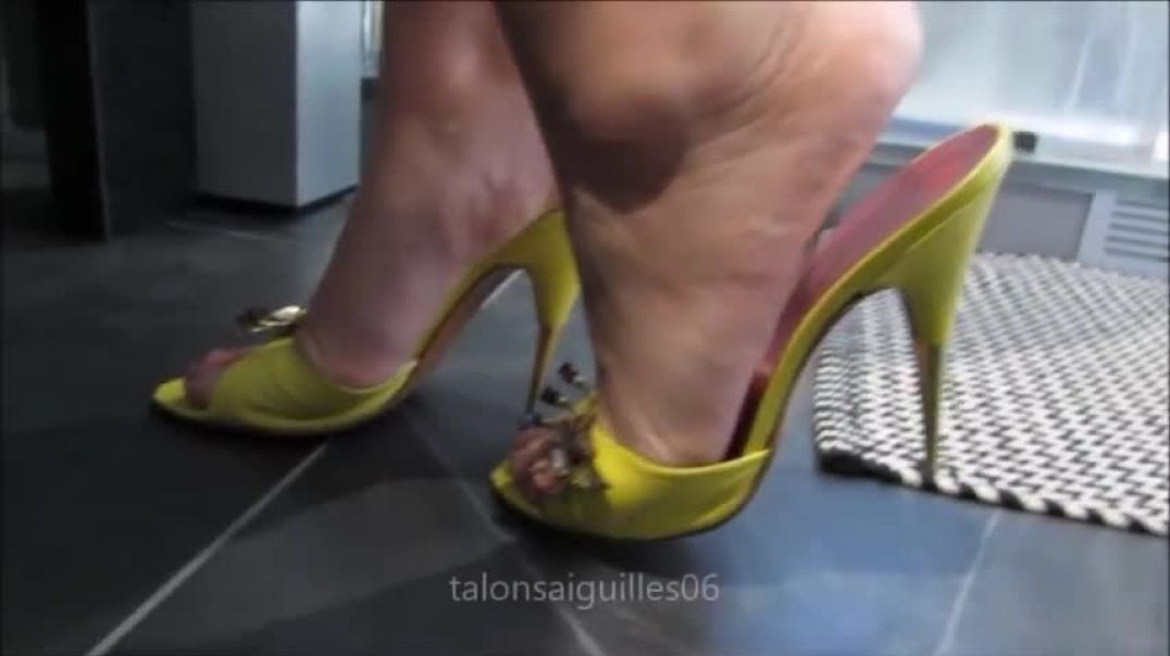 Yellow  Mules in Bathroom