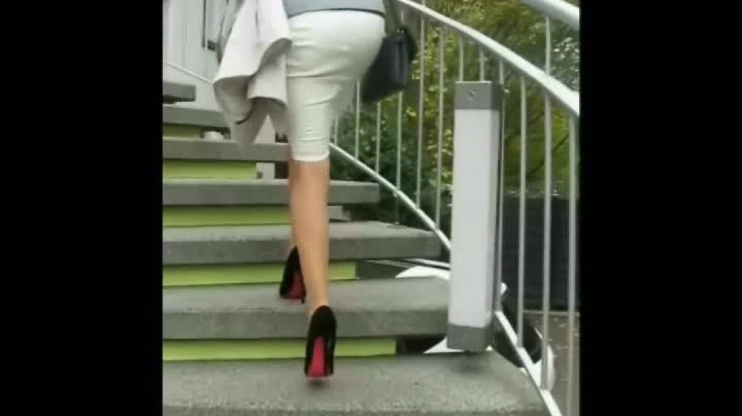 Black Suede Pumps (13cm) (1) on stairs
