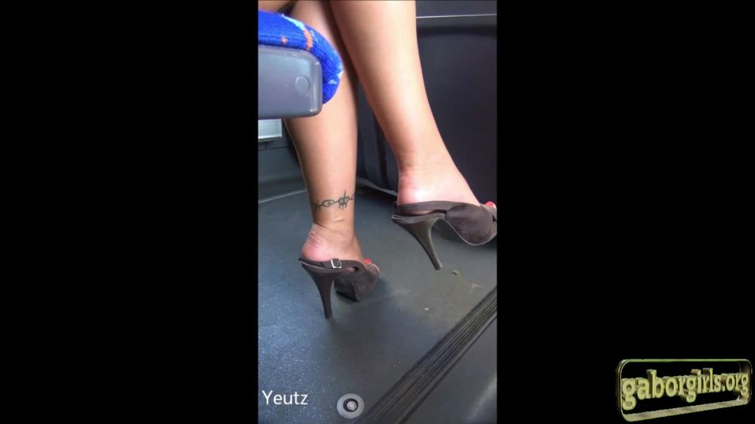 Hot Brunette wearing squashed Slingbacks by Yeutz