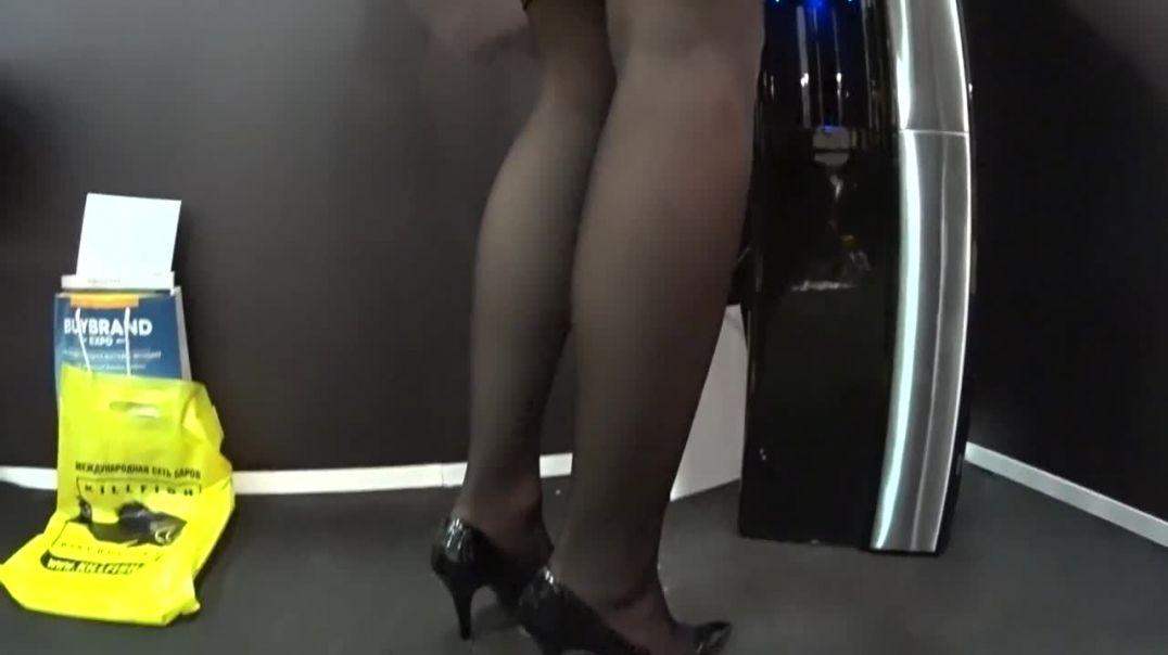 Black dress and long legs beauty