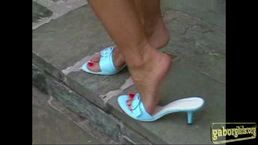 Sexy Blue Mules and Rednails