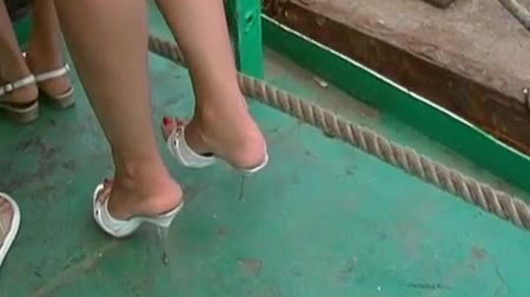 Super Sexy Legs in Mules aboard