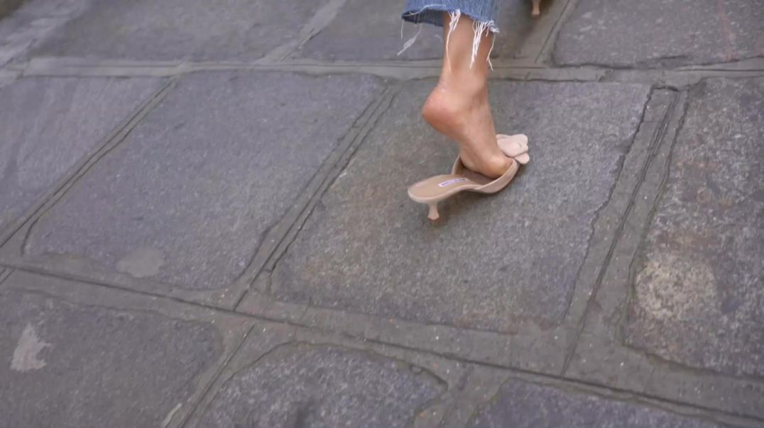 Street Candid - Sexy Pointy Mules from Paris  by paris75000