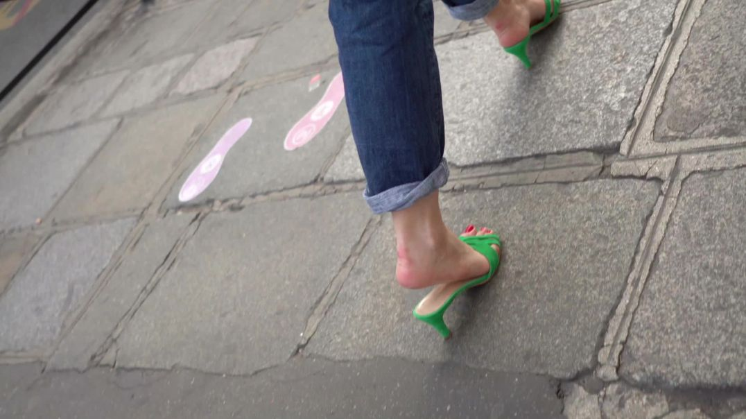 Gaborgirlstube Street Candid  - Sexy Green Mules strolling around by Paris75000