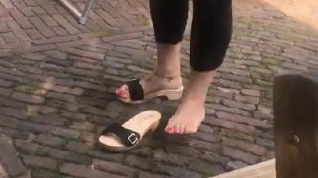 Comparing wooden sandals