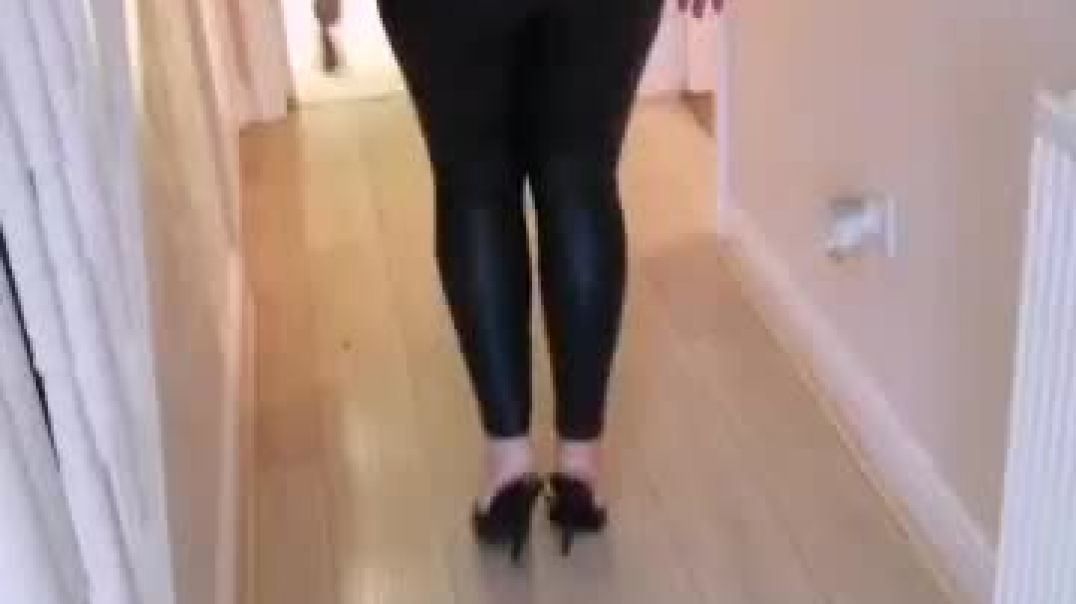 Blonde MILF in Mules and Leggings
