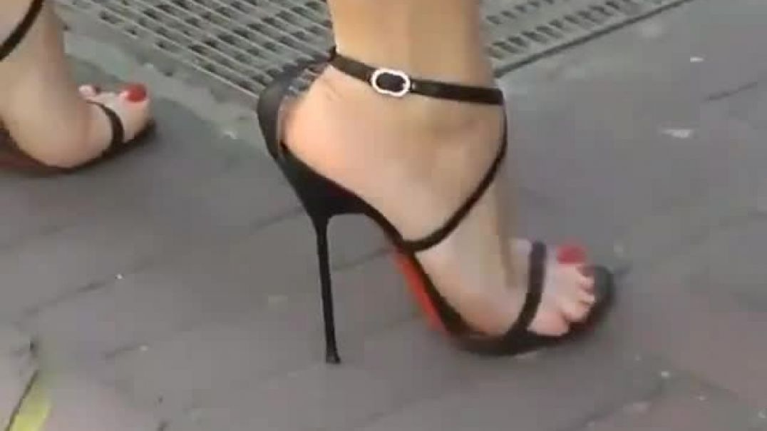 Strolling around in ultra high Strappy Sandals