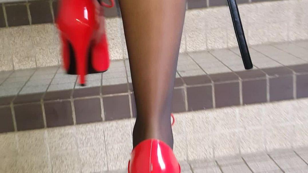 Street Candid - Stairway to Heaven - Red Heels MILF by Trailix