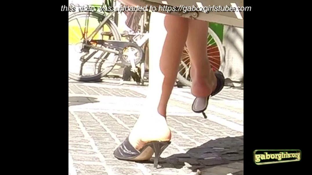 Gaborgirlstube Street Candid  - Dangle sexy Mules
