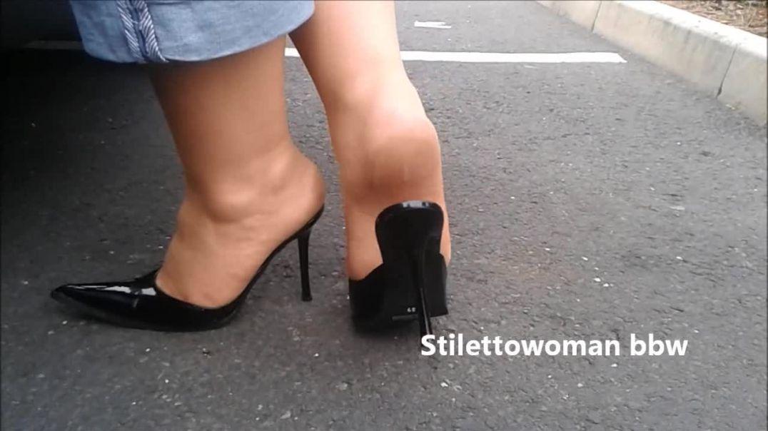 4,5 inch black mules, Stilettowoman bbw