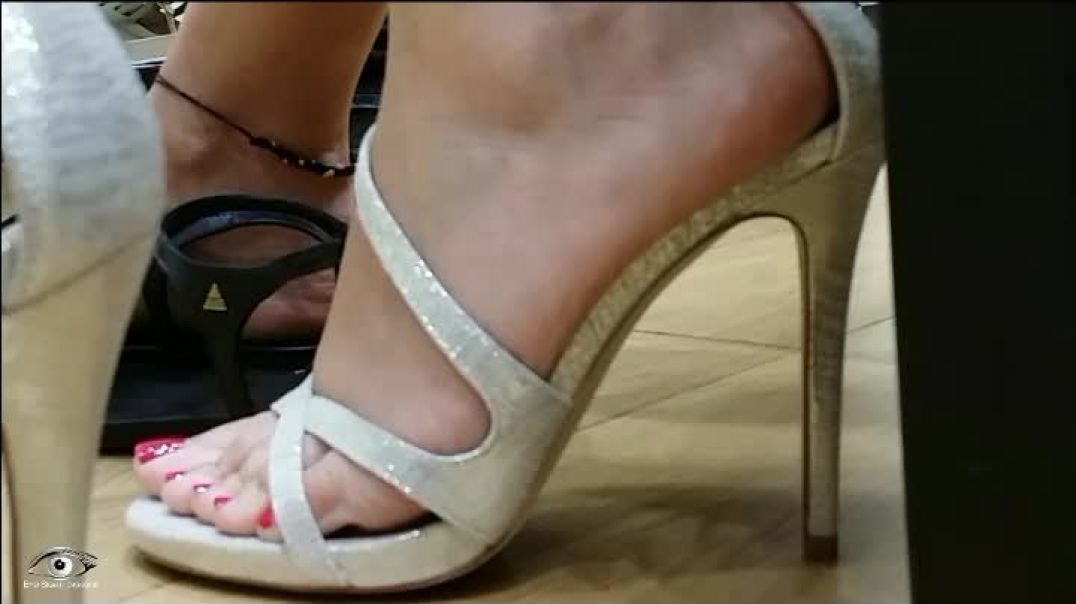 Shoe Shopping in Silver Strappy Highheels