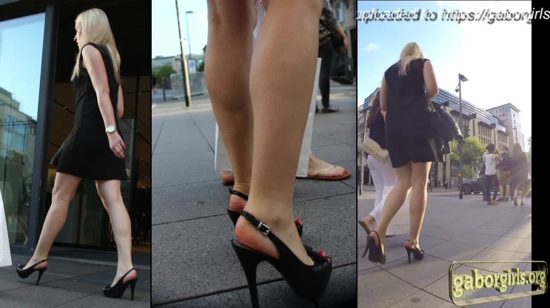 Gaborgirlstube Street Candid  - Sexy Blonde in Slingback Highheels - Short Clip