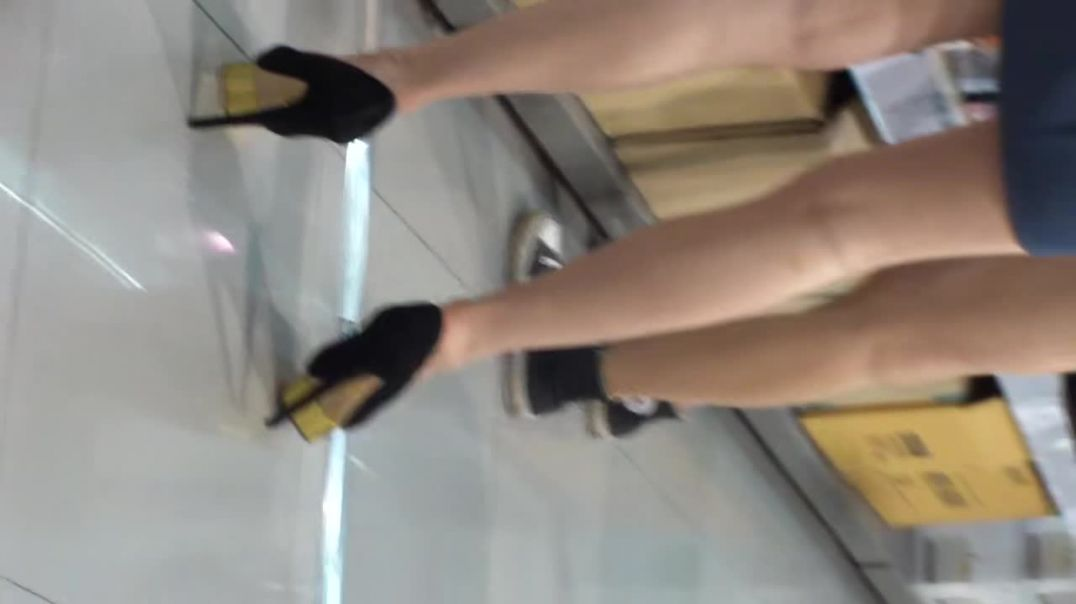 Asian MILF shopping in gold platform Stiletto Heels