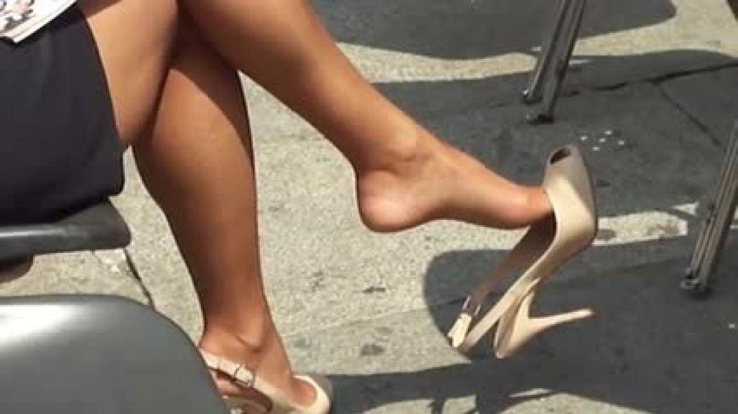 MILF dangling sexy Peeptoe Slingback Heels