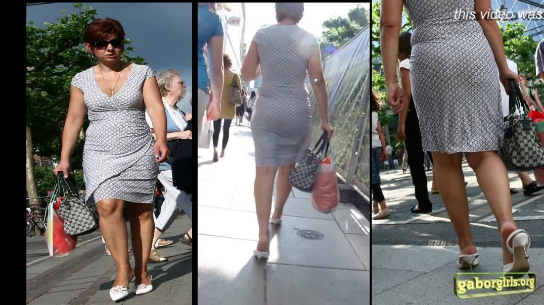 Gaborgirlstube Street Candid - Sexy italian MILF in metalheeled Slingback Highheels - Trailer
