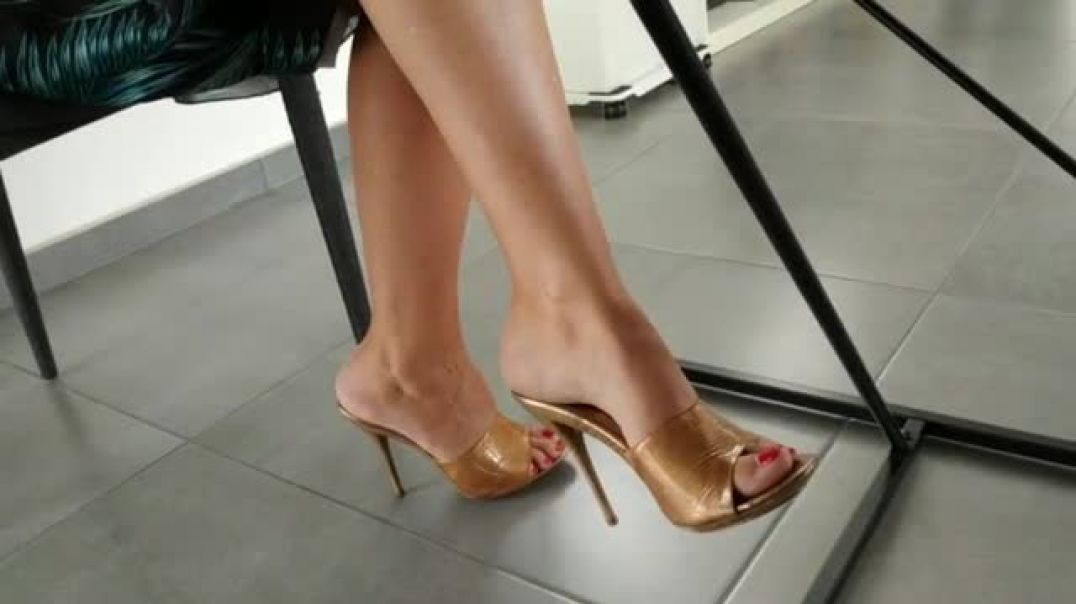Indoor Candid - Sexy Golden Mules under the Table