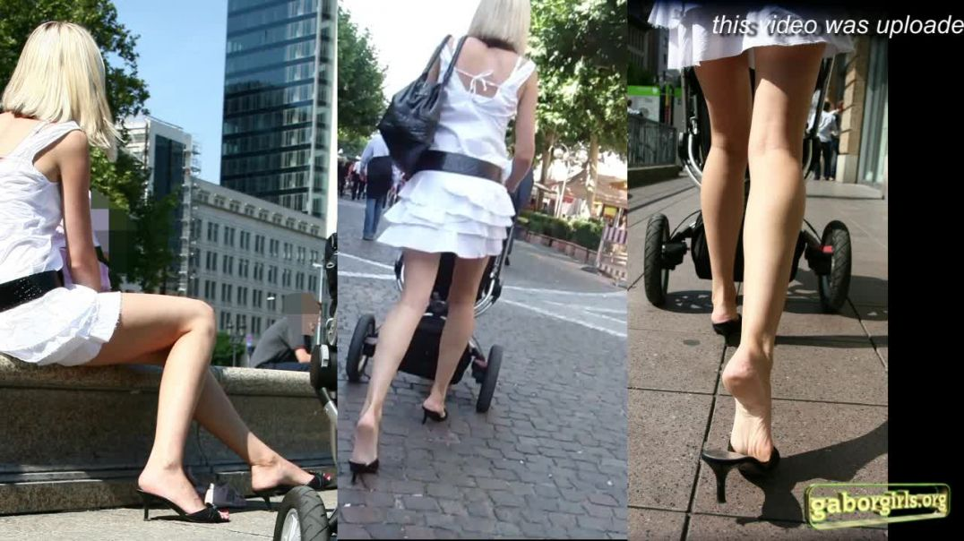 Gaborgirlstube Street Candid  - Sexy Russian Mom in Guess Highheel Mules - Trailer