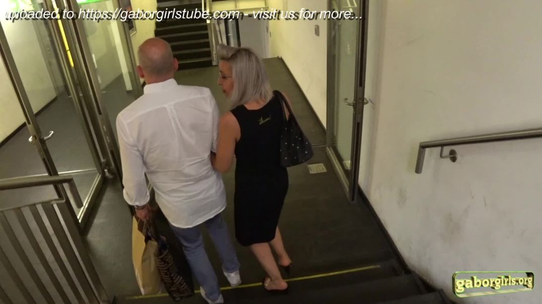 Gaborgirlstube Street Candid  - Sexy Platinum Blonde in Clear High Heels